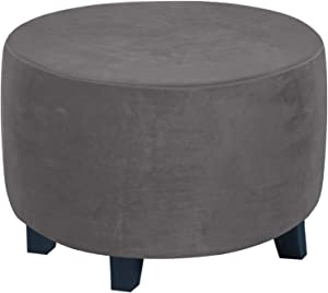 Round Ottoman Slipcover Ottoman Covers Slipcover Footstool Protector Covers Storage Stool Ottoman Covers Stretch with Elastic Bottom, Feature Real Velvet Plush Fabric (X-Large, Gray)