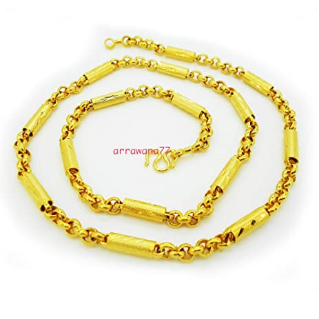Amazoncom Chain Mix Link 22K 23K 24K Thai Baht Yellow Gold Plated