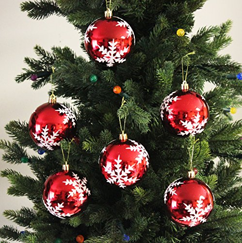 Festive Season Snowflake Shatterproof Christmas Ball Ornaments Tree Decorations Set of 6 80mm