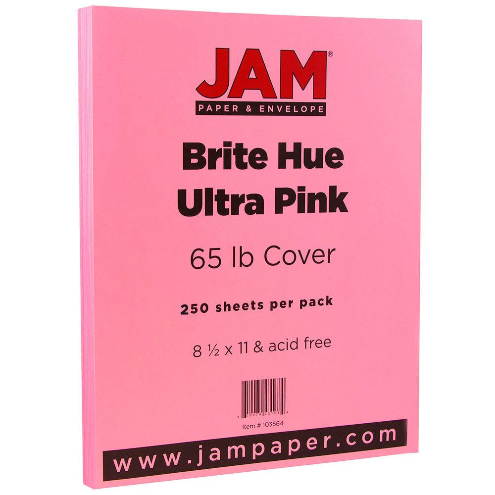 JAM PAPER Colored 65lb Cardstock - 8.5 x 11 Coverstock - Ultra Pink - 250 Sheets/Ream by JAM Paper
