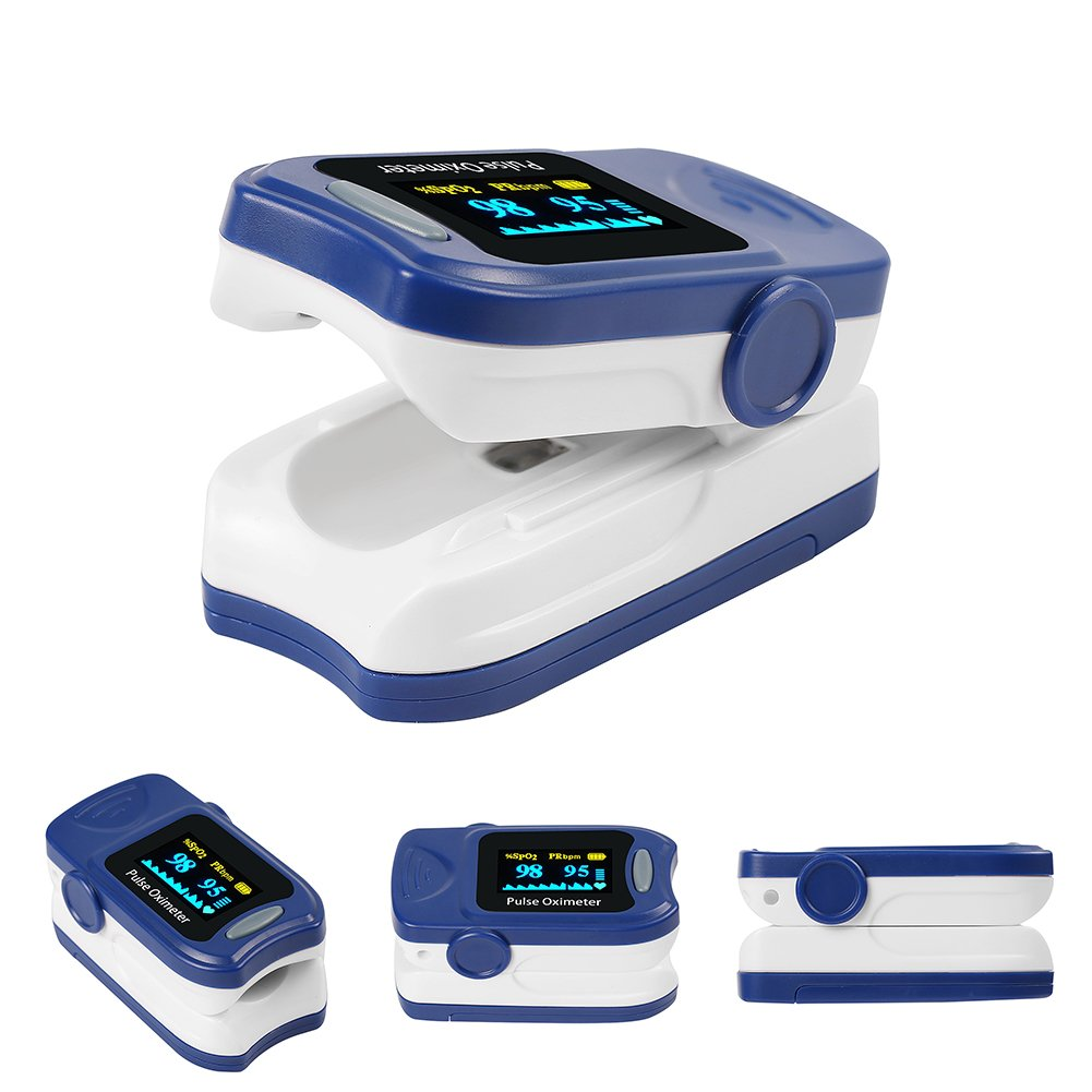 Fingertip Oxygen Monitor FS20A Pulse Oximeter FDA Approved With Lanyard Carrying Case Batteries Blue