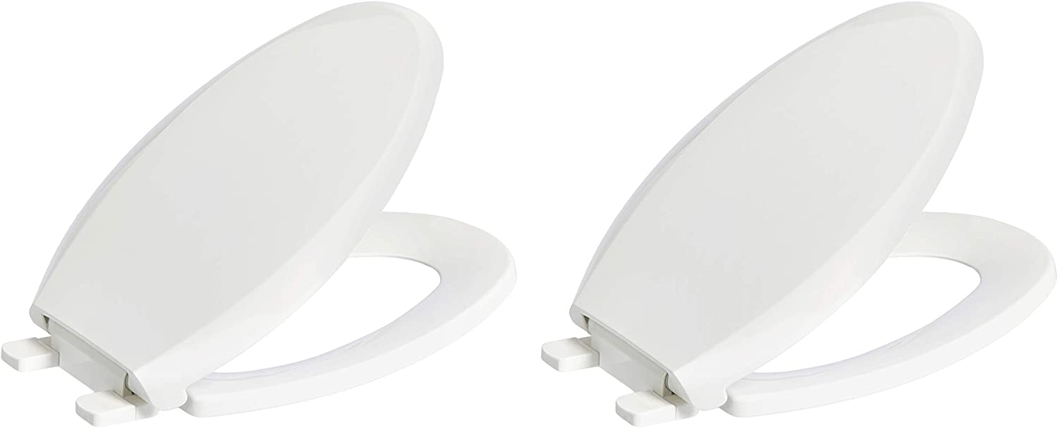 AmazonBasics AB-T102-E-W-2 Quick-Install Soft-Close Toilet Seat, Elongated, White, 2-Pack