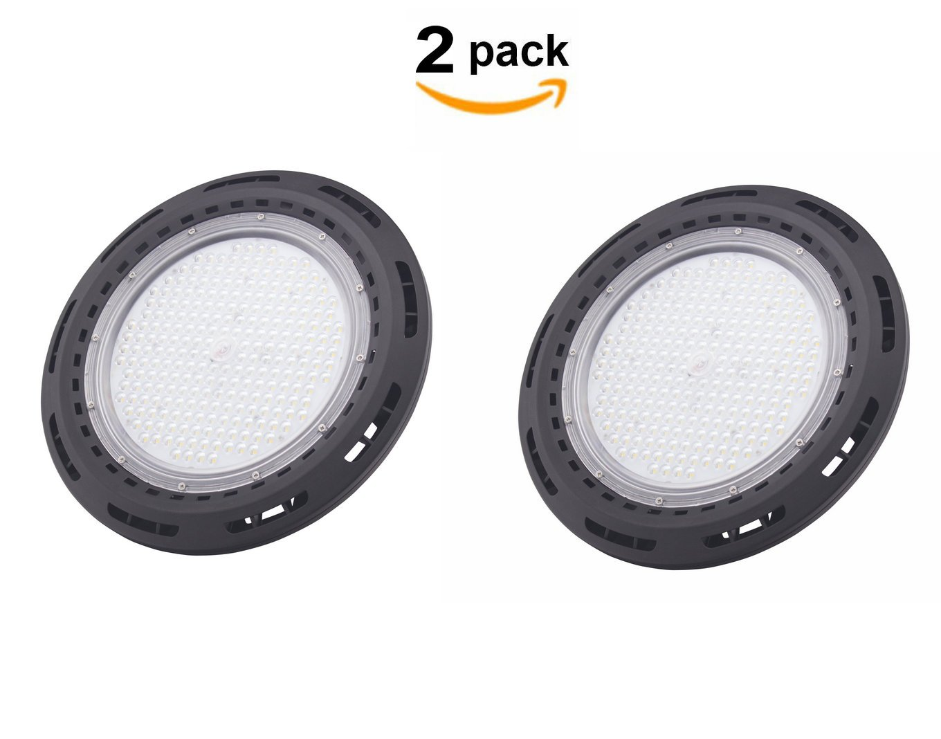 CY LED 100W UFO LED High Bay Lighting, UL Listed, 250W HPS/MH Bulbs Equivalent, 10500lm, Waterproof, Daylight White, 6000K, 120¡ã Beam, Super Bright Commercial Lighting, LED High Bay Lights Pack Of 2