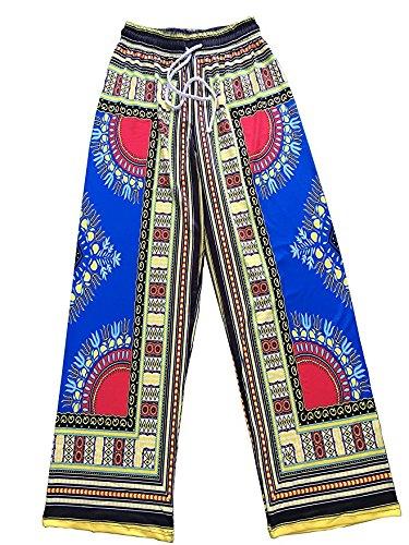 Oops Style Ladies Casual Boho Totem Damask Drawstring Waist Wide Leg Lounge Pants Small Blue