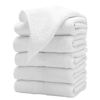 Weaved Collection Luxury Hand Towels 100% Cotton 16x30 Inches White (6 Pack)