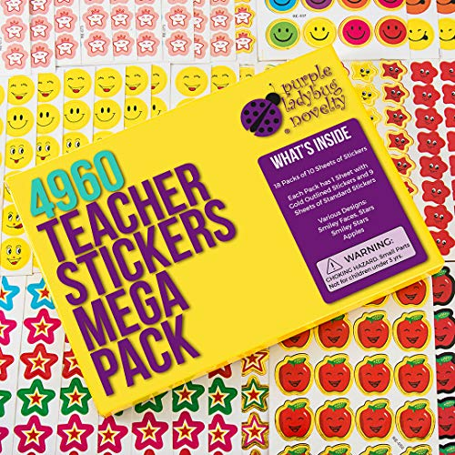 Purple Ladybug Novelty Teacher Stickers for Kids Mega Pack, 4960 Reward Stickers & Incentive Stickers for Teachers Classroom & School Bulk Use! Includes Smiley Face Stickers & Star Stickers!  ()