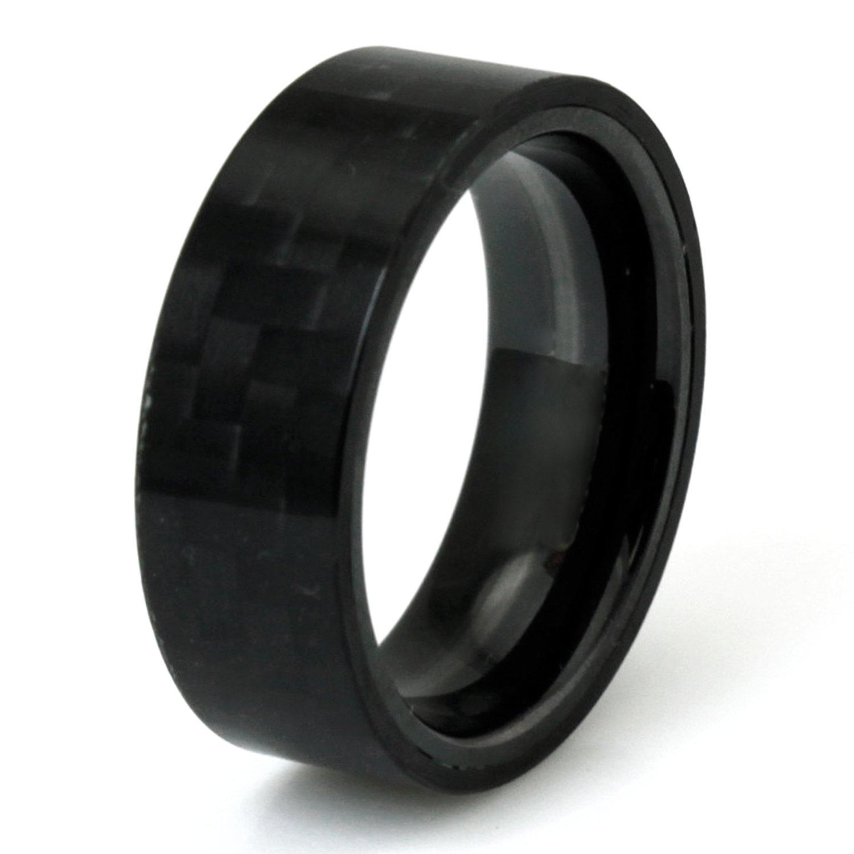 Tioneer Bague en titane noir en fibre de carbone ordinaire Hommes Anneau