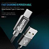 OHUMLAB USB Type C Cable Fast Charging 4 FT/ 1.2 MTR (USB 3.0), USB A to USB C PIN Charger Nylon Braided Fast Charging Cord Wire Compatible with Samsung Galaxy Note 9 S9 S8 Note 8, LG V30 G6 G5, Pixel, (Grey)