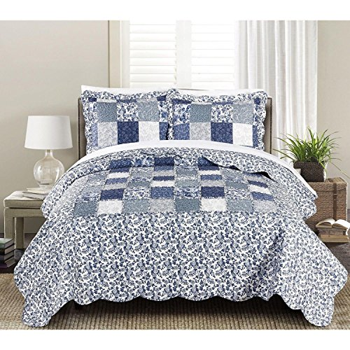 2pc Blue White Twin Quilt Set, Microfiber, Patchwork Themed Bedding Country Boho Bohemian Cottage Flower Floral Shabby Chic Cabin Scalloped Plaid Vintage Antique, Cotton by Unknown