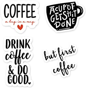 Coffee Sticker Pack - 4 Pack - Funny Laptop Stickers - Laptop, Phone, Tablet Vinyl Decal Sticker