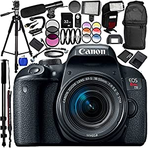 Canon EOS Rebel T7i DSLR Camera with 18-55mm Lens 24PC Accessory Bundle – Includes 32GB SD Memory Card + High Speed Card Reader + MORE