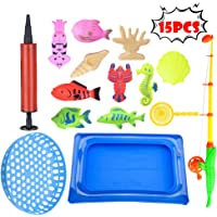 BBtime 15Pcs Fishing Bath Toy,Water Fishing Magnetic Floating Game In Bathtub Bathroom Pool Time,Learning Education Tool For Kids Boys Girls Toddlers Party Favors Carnival Summer