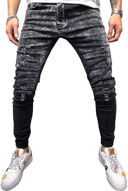 BYWX Mens Ripped Distressed Vintage Slim Tie Dyed Jeans Denim Pants