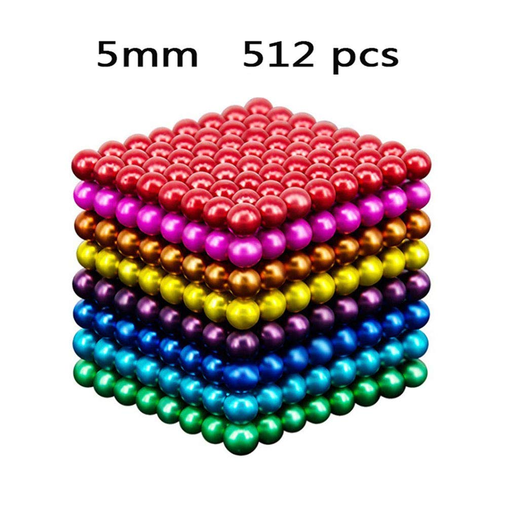 Q&Z Magic Magnetic Balls Construction Toy Game,5mm 512pcs Desk Building 3D Stacking Toys Creative Stress Relief and Intelligence Development Eight Colors