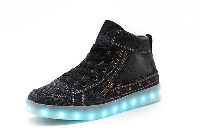 Voovix Kinder Litch Schuhe Blinkende Sneaker Led Leuchtende High-top USB Aufladen Shoes für Jungen und Mädchen(Schwarz,EU37)