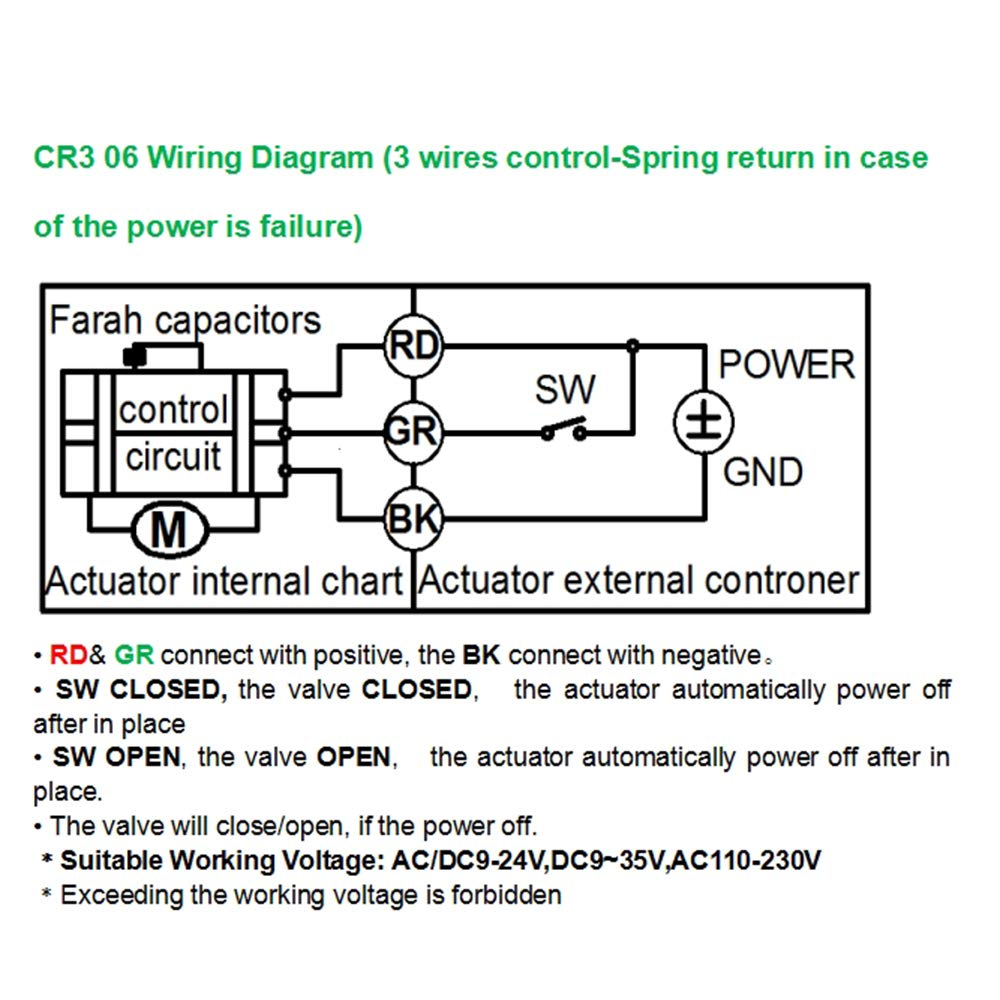 Five-Wires Control Normally Open Three Way Brass 1//2 Inch,DN15 AC110-230V Motorized Ball Valve with Position Indicator