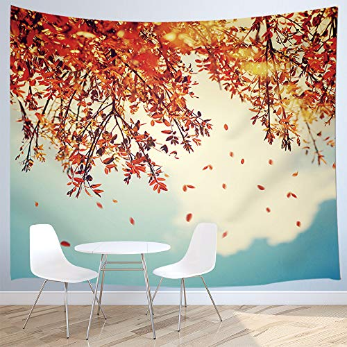 JAWO Nature at Fall Tapestry Wall Hanging, Autumnal Tree Border with Falling Down Old Leaves 3D Art Print Tapestries for Living Room Bedroom Drom Blanket Room Wall Ornament Home Kitchen 71x60inches ()