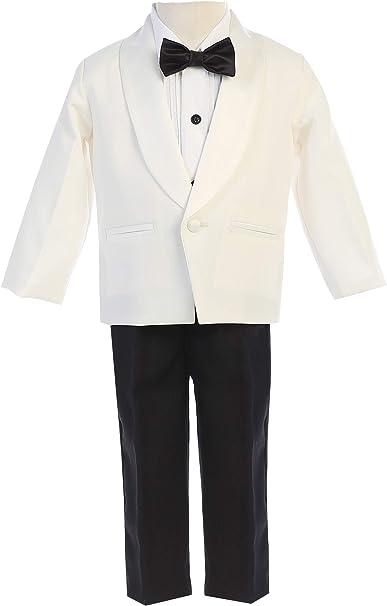 Boys Formal Tuxedo bowtie Suits 5-PC Dress Suit Set size S-XL 2T-20 Black