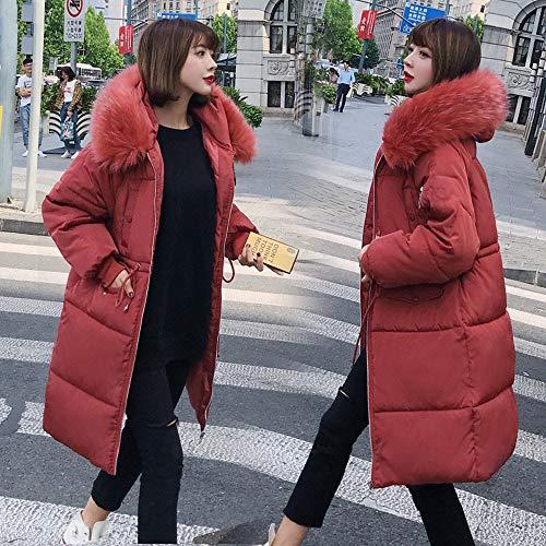 Plumas Outerwear Rojo Beladla Invierno Abrigo Larga Mujers Mujer Chaqueta Chaquetas Parka Fit Slim Collar Pelaje Con Manga Espesar Cremallera Capucha AUqHtHwxS