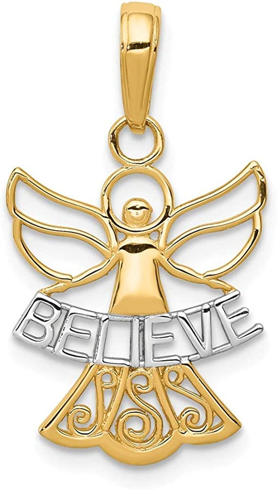 FB Jewels Solid 14K Yellow Gold Rhodium Believe Angel Pendant
