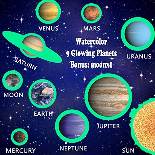 PARLAIM 0116 Glow in The Dark Solar System with Moon Wall Decals,Peel and Stick Removable Wall Stickers for Kids Nursery Bedroom Living Room