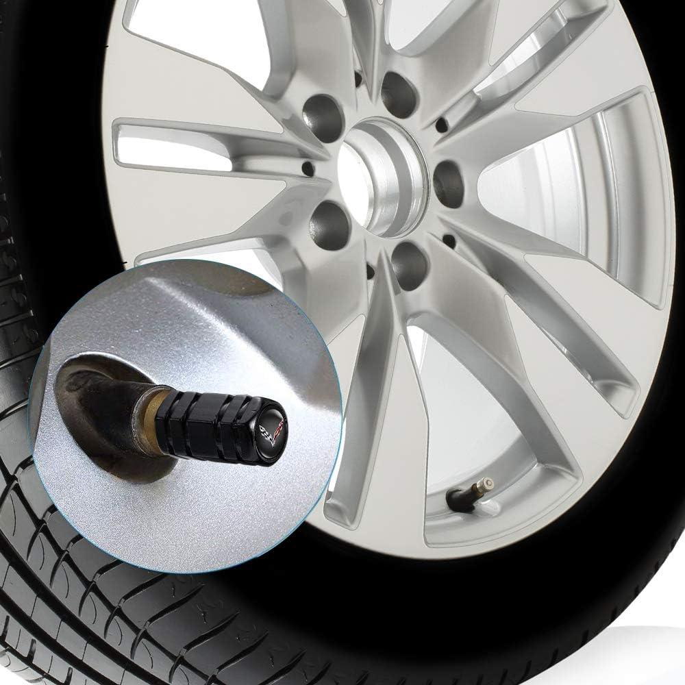 N//A 4 Pcs Metal Car Wheel Tire Valve Stem Caps Suit for Corvette Styling Decoration Accessories