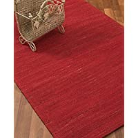 NaturalAreaRugs Destiny Collection Jute/Hemp Area Rug, Handmade, 100% Hemp, Cotton Backing, Durable, Elegant, Stain Resistant, Eco/Environment-Friendly, (6 Feet x 9 Feet) Red Color