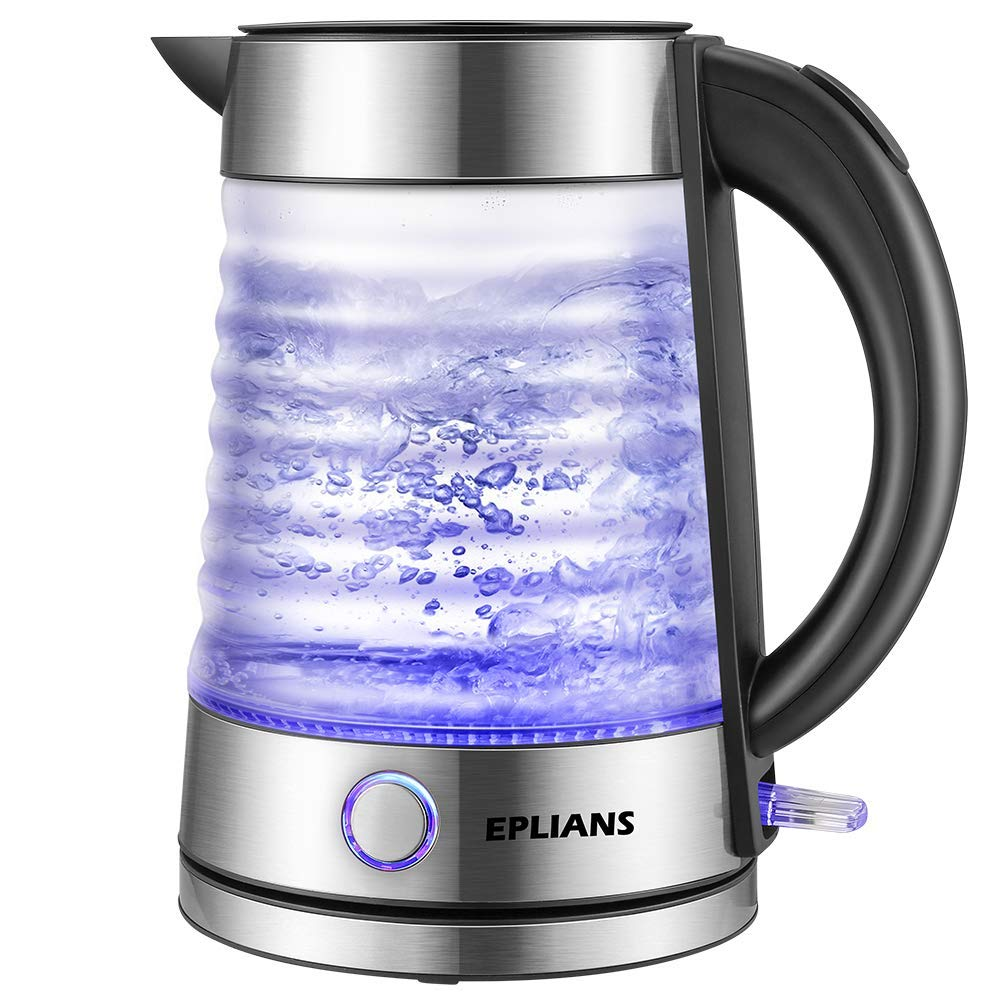 Electric Kettle, EPLIANS LED-Lit Fast Water Boiler, Quick-Boil Glass Tea Kettle with Atmospheric Illumination, 1500 W Enclosed Heating Element and Cool Touch Handle, 1.7 L (Silver) KE-1002X