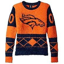 NFL Denver Broncos Women's Eyelash Ugly Sweater, Large, Blue