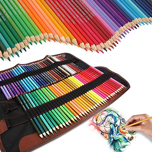 (Color Pencils 72 Colored Art Set,Best Water Soluble Colored Pencil Sets for Adults Coloring Book Kids Artist Sketch Writing Cartoon Artwork 72 Assorted Colors,Canvas Pencil Holder Organizer)