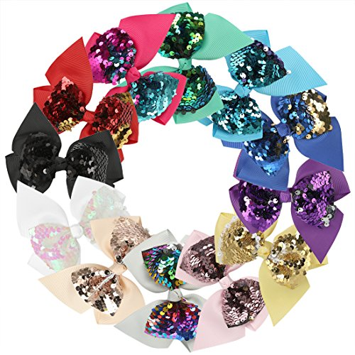 XIMA 12pcs 4.5inch Reversible Sequin Bows With Clips Grosgrain Ribbon Hair Bows Hairpin For Girls Hair Accessories (12pcs-Bows with clips)]()