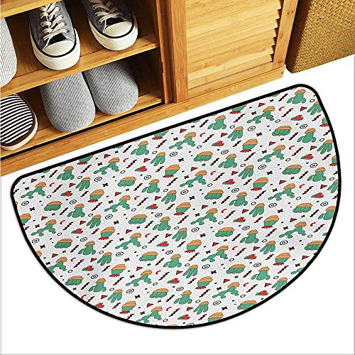 warmfamily Cactus Entrance Door mat Dotted Pattern with Cartoon Plants and Herringbone Lines Circles and Triangles Cross Hard and wear Resistant W23 x L15 Multicolor