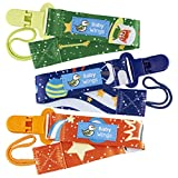 Baby Wings Space Adventure Dummy Clip - 3 Pack - Unisex Pacifier Clip for Boys and Girls with Awesome Space Cat Design - Washable Dummy Holder With Plastic Clip For Baby's Favourite Sooth
