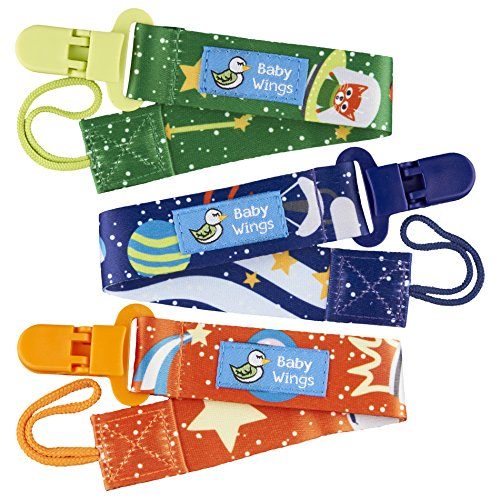 Pacifier Clips for Boys and Girls by Baby Wings - 3 Pack - Unisex Pacifier Clip with Awesome Space Cat Design - Washable Pacifier Holder with Plastic Clips (Space Adventure)