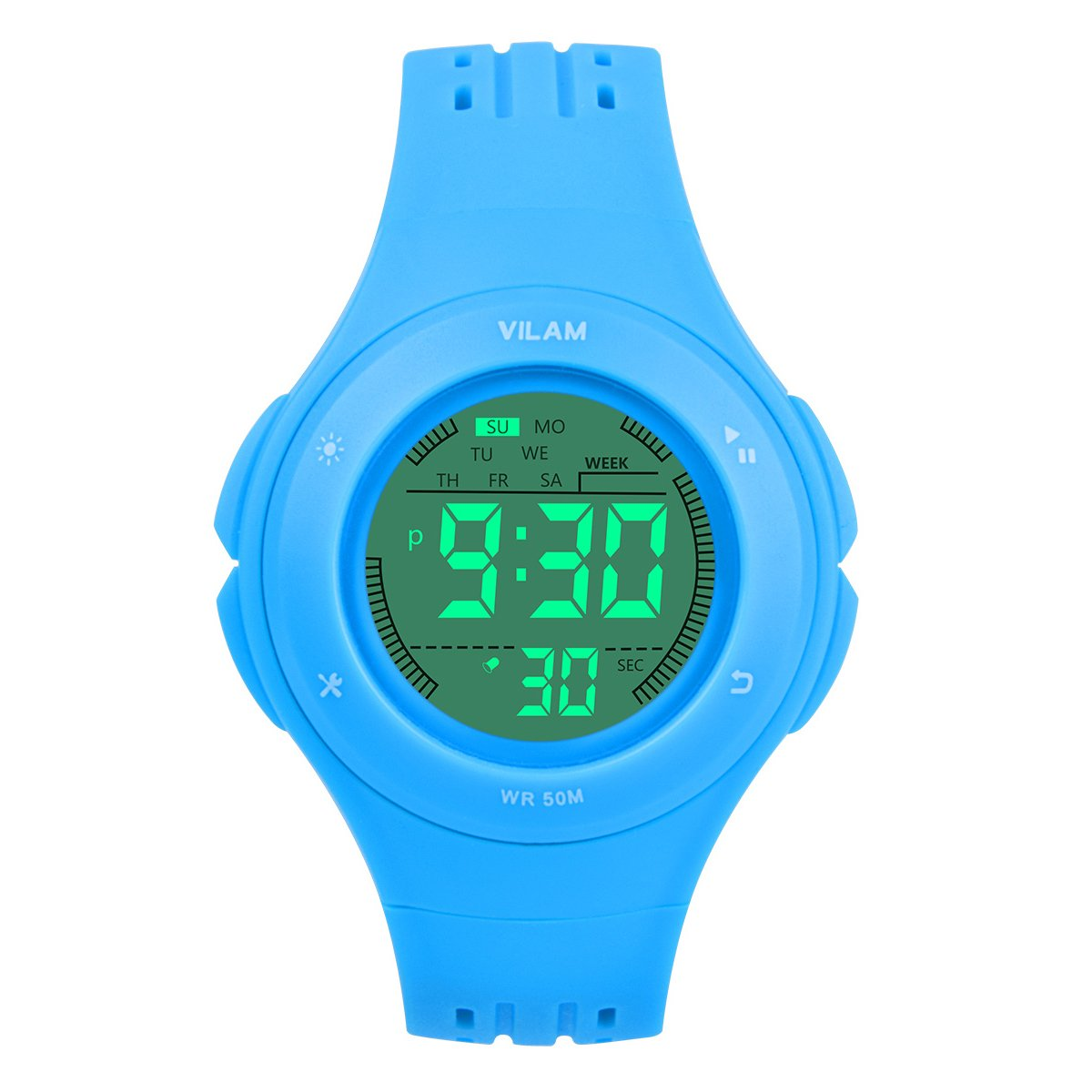 Kids Watch Waterproof Children Electronic Watch - Lighting Watch 50M Waterproof for Outdoor Sports,LED Digital Stopwatch with Chronograph, Alarm, Child Wrist Watch for Boys, Girls - PerSuper (Blue) by PERSUPER