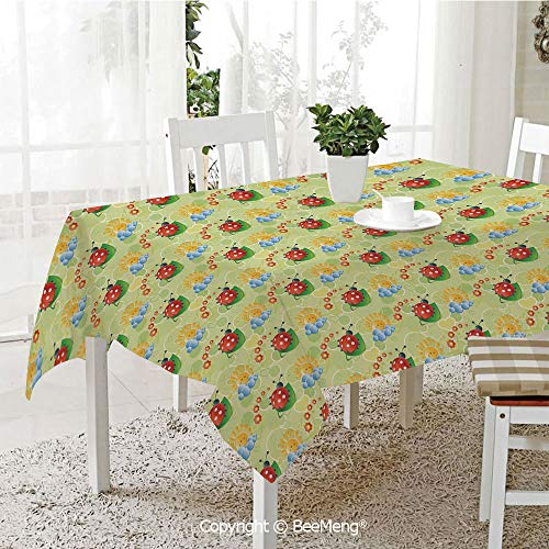 BeeMeng Large Family Picnic Tablecloth,Easy to Carry Outdoors,Nursery,Happy Smiling Sun with Flowers and Ladybugs Cute Image Nature Inspired Drawing,Multicolor,59 x 104 ()
