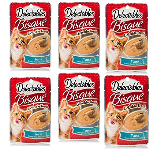 Delectables Bisque Lickable Treat - Tuna - by HARTZ 6 Pack
