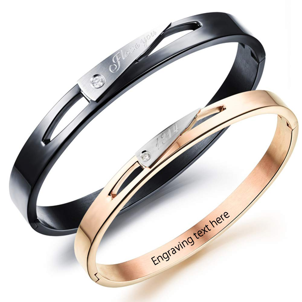 Gullei.com Anti-Allergic Titanium Couples Bracelet Set with Engraving