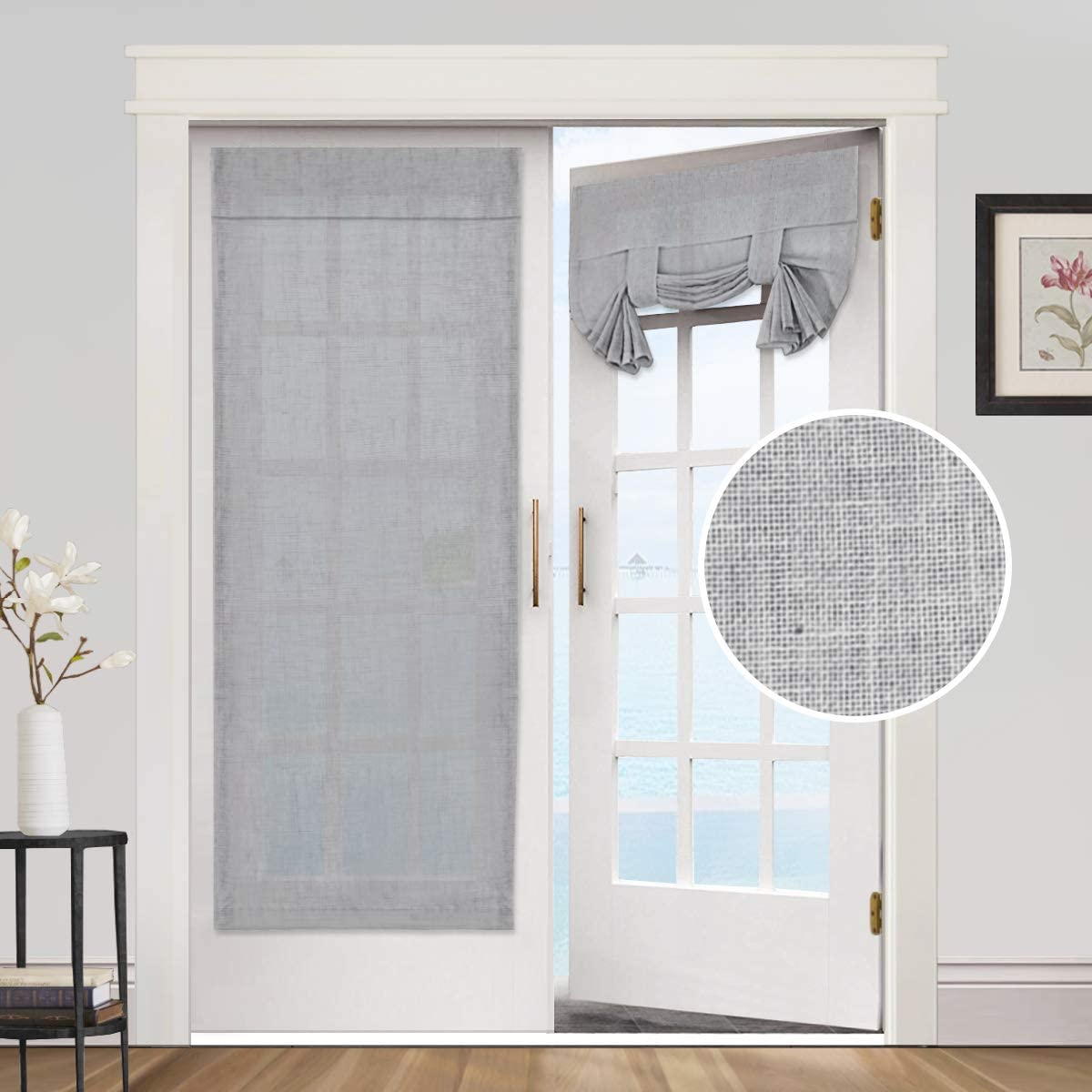 Privacy French Door Curtains- Linen Blended Weave Textured Tricia Tie Up Light Filtering Functional Thermal Insulated Portable Panel Drapes for Home and Office,26 x 68 inches, 2 Panels, Dove