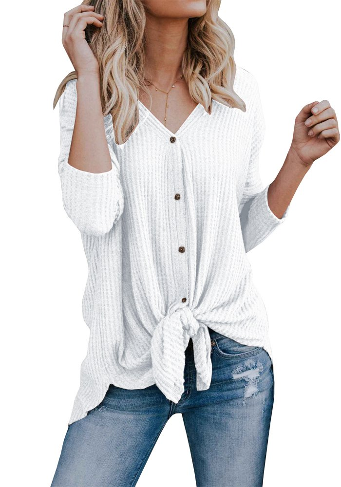 Remikstyt Womens Loose Fitting Henley Shirts Button Down Long Sleeve High Low Front Tie Tops
