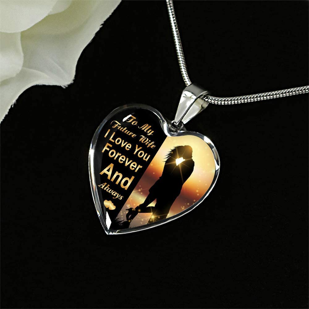 Gift for Girlfriend ZEN DEAL Silver Heart Pendant Future Wife Necklace to My Future Wife