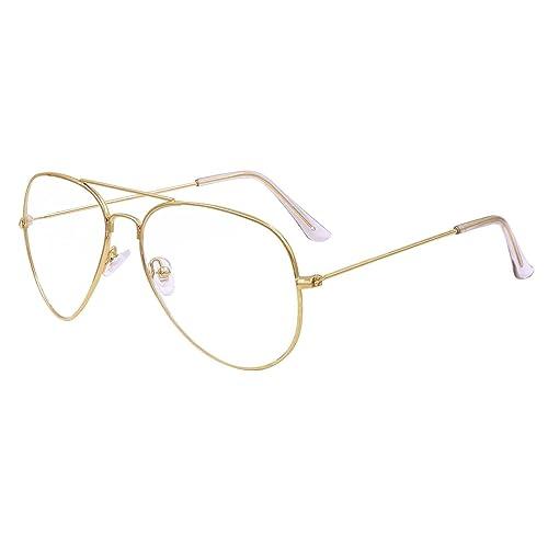Hibote Hombres Mujeres Lente Transparente Completa Cubierta Ultradelgada Marco De Metal Gafas De Lectura Decoración Geek / Nerd Gafas Retro Gafas