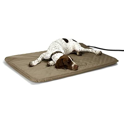 K&H Pet Products Outdoor Heated Pet Bed Tan Large 25 X 36 Inches