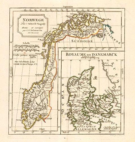 Norwege / Royaume de Danemarck by C. F. Delamarche. Norway & Denmark - 1806 - old map - antique map - vintage map - printed maps of Scandinavia