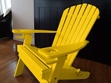 Attirant Poly Recycled Plastic Adirondack Chair With Two Cupholder Yellow