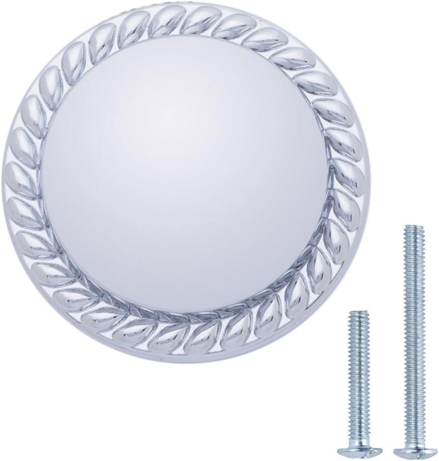 3,17 cm Diam/ètre Nickel satin/é Basics Lot de 25 boutons de placard ronds Motif tress/é