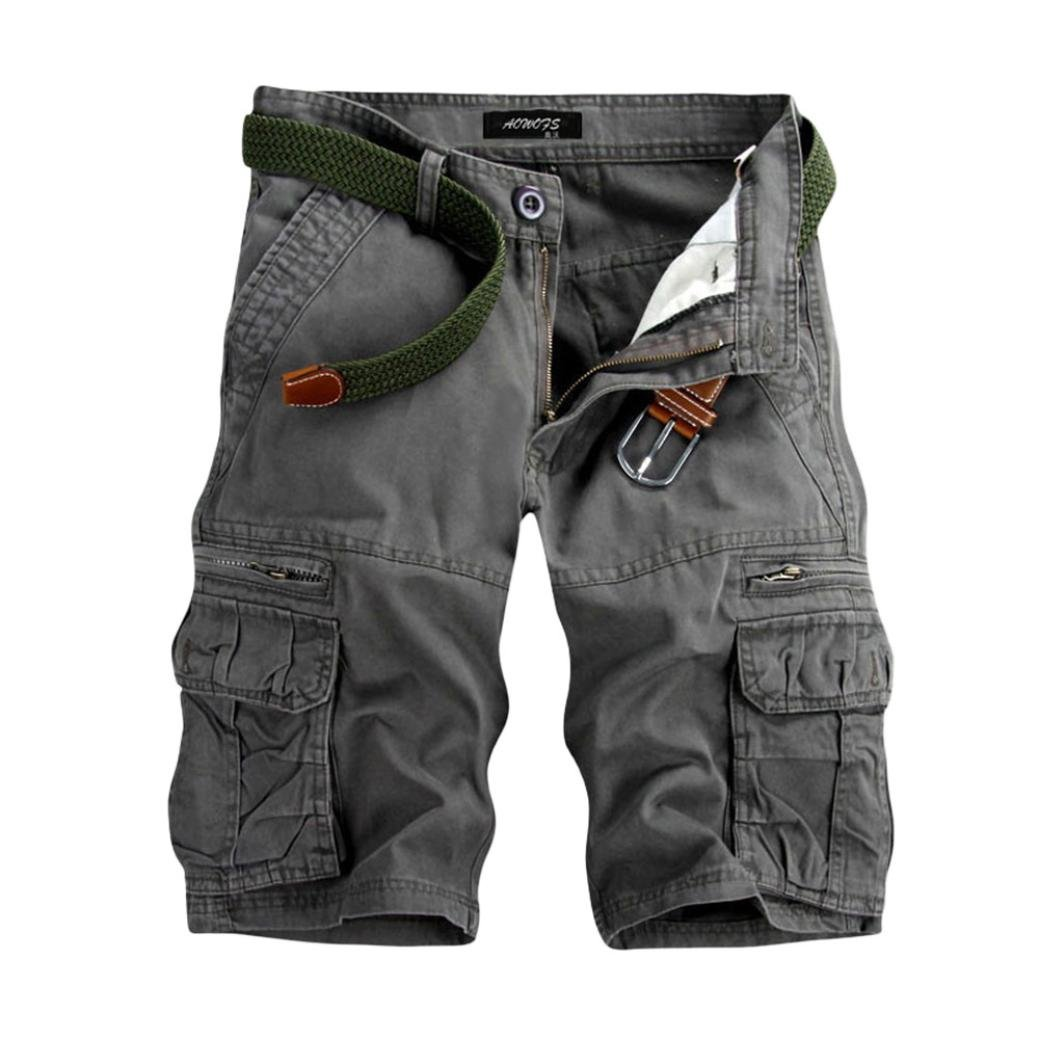 PASATO Men's Casual Solid Outdoors Pocket Beach Work Trouser Classic Cargo Shorts Pant(Gray, 33)