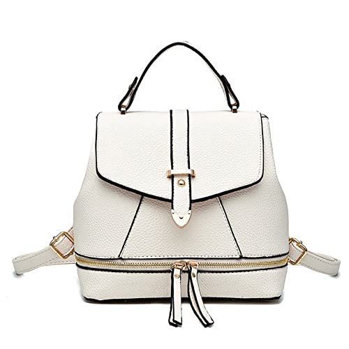 Hynbase Women's Summer Fashion Cute Korean Leather Schoolbag Backpack Shoulder Bag White