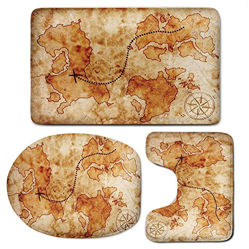 3-Piece Bath Mat Set Bath Rug Set,Island MapInches & U-Shaped Toilet Rug and Lid Cover,Authentic Distressed Grunge World Map Wind Rose Compass Pattern Treasure Map Picture