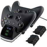 Xbox One/One X/One S Controller Ladegerät, Akmac Xbox One Dual Docking Ladestation mit 2 x Akku-Packs
